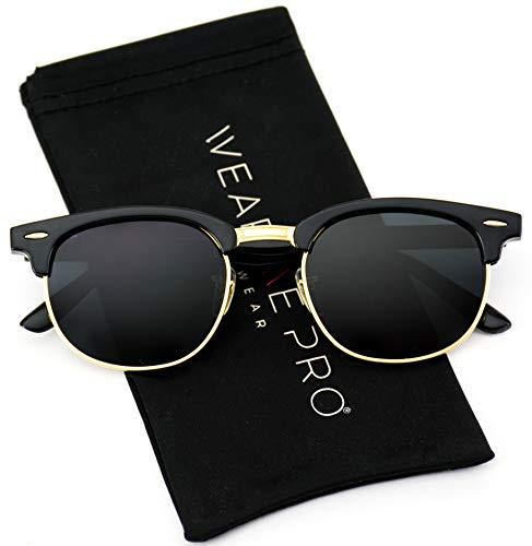 WearMe Pro - Polarized Classic Half Frame Semi Rimless Retro Sunglasses Women ()