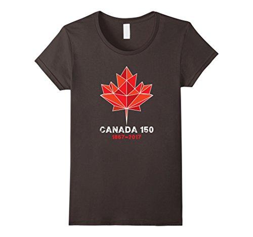 Womens Maple Leaf Canada 150 Years T Shirt Canada 1867-2017  Large Asphalt