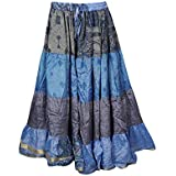 Mogul Interior Women's Long Maxi Skirt Vintage Recycled Sari Tiered Flared Skirts M/L