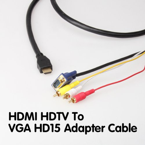 5FT 1080P To VGA 3RCA Converter Audio Video Adapter Cable For HDTV - 9