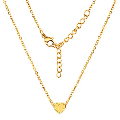 FaithHeart Initial L Alphabet Heart Necklace, 18K Gold Plated Personalized Dainty Letter Charms Choker, Minimalist Necklace for Women/Girls ()