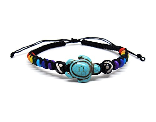 Shrimp Costume Diy (Sea Turtle Hemp Bracelet - Turquoise Tortoise Wristband for Women - Rainbow Bead Macrame Cotton)