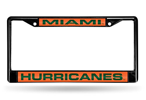 Rico Industries NCAA Miami Hurricanes Laser Cut Inlaid Standard Chrome License Plate Frame, Black