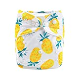 Alva Baby Diapers Reuseable Washable Pocket Cloth Diaper Nappy + 2 Inserts (Yellow Pineapple, YX20)