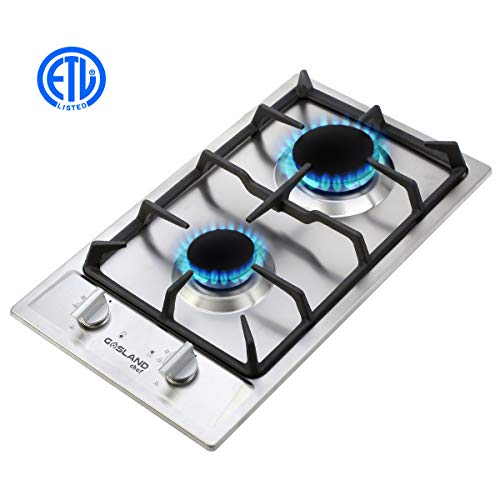 Gas Cooktop, Gasland chef Built-in Gas Stove Top, Stainless Steel LPG Natural Gas Cooktop 12'', Gas Stove Top With 2 Sealed Burners, ETL Safety Certified, Thermocouple Protection & Easy To Clean