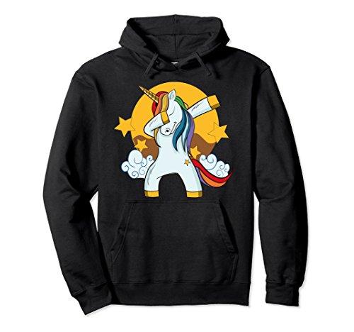 Unisex Magical Rainbow Dabbing Unicorn Hoodie Small Black