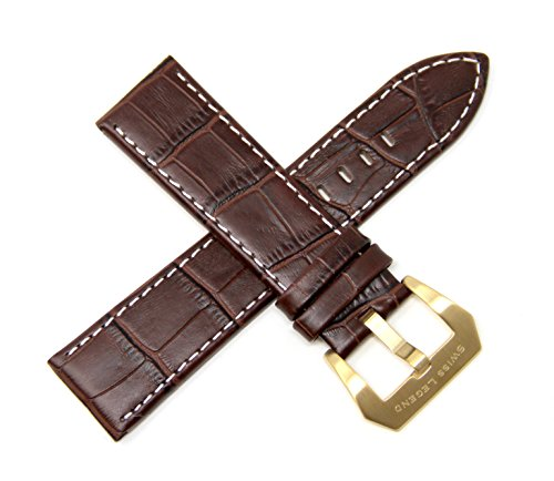 - Swiss Legend 24MM Brown Alligator Grain Leather Watch Strap, Satin Gold Buckle fits 42mm Executive Watch