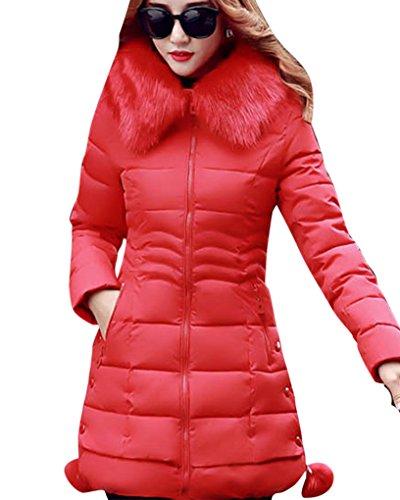 Mujer Slim Fit Espesar Pelaje Collar Abrigo Parka Con Capucha Manga Larga Cuello de Piel Sintético Rojo