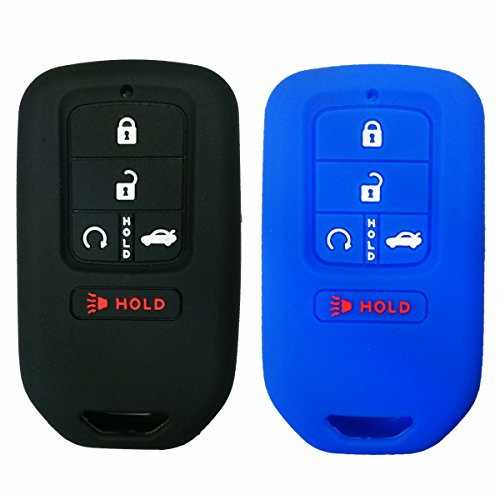 Coolbestda 2Pcs Silicone Smart Key Full Cover Shell Case Keyless Jacket Holder for 2018 2017 2016 2015 Honda Accord Civic CR-V CRV Pilot EX-L Touring Premium 5 Buttons Smart Key Blue Black