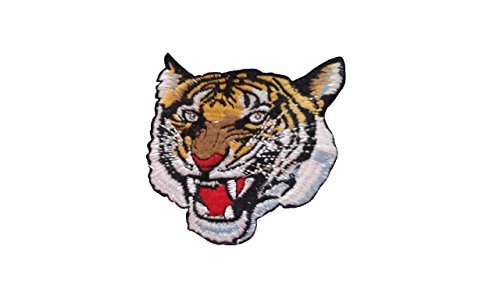 TIGER HEAD Iron On Patch Applique Wildlife Animal Embroidered Motif Fabric Decal 3 x 3 inches (7.5 x 7.5 cm)