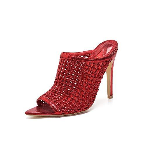 MACKIN J 294-23 Women's Peep Toe Hand Woven Upper High Heel Sandals Open Toe Mule (7, RED)