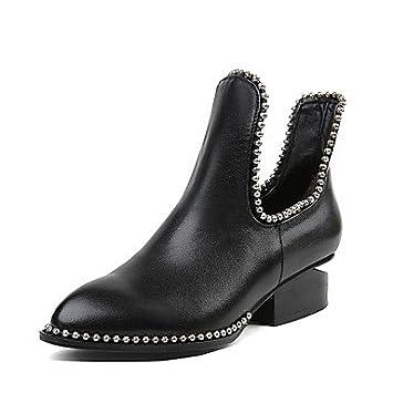 Heart&M Mujer Zapatos Cuero real Invierno Botas de Moda Botas hasta el Tobillo Botas Tacón Bajo