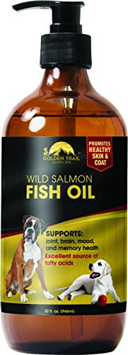 Natural Organic Liquid Salmon Fish Oil for Dogs, Cats, Horses, Omega 3 -LARGE 32 FL OZ Bottle- High in Fatty Acids - Healthy Skin & Coat - Supports Joint Health, Pet, Horse Electrolyte Supplements