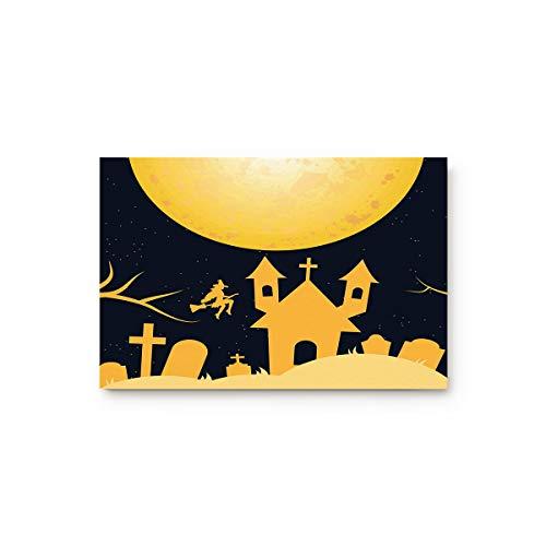 Bulingling Indoor Entrance Rug Floor Mats Non-Slip Shoe Scraper Doormat Front Door/Bathroom/Kitchen Carpet Bedroom Door Mat - Halloween Yellow Castle Silhouette 23.6 x 15.7 Inch ()