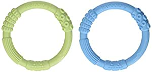 Lifefactory Multi-Sensory Latex & BPA-Free Silicone Teething Ring, Sky/Spring Green, Set of 2
