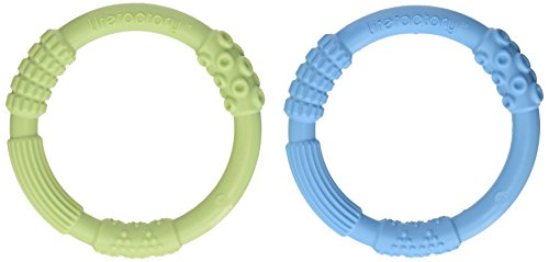 Dentition Silicone Lifefactory multi sensorielle, Sky / Spring Green, deux comte
