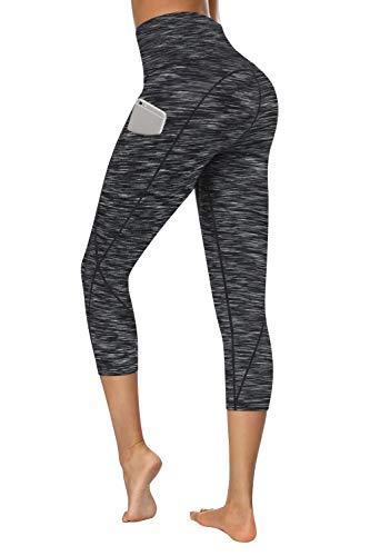 TUNGLUNG Capri Leggings, Capri Yoga Pants with Pockets Tummy Control Workout Pants 4 Way Stretch Yoga Leggings