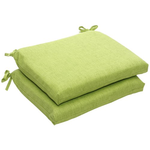 (Pillow Perfect Indoor/Outdoor Green Textured Solid Square Seat Cushion, 2-Pack)