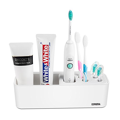 CORNERIA Easy-Store Toothbrush Holder - Bathroom Multi-Purpose Strong Suction Toothbrush Caddy - Detachable (Cream White)