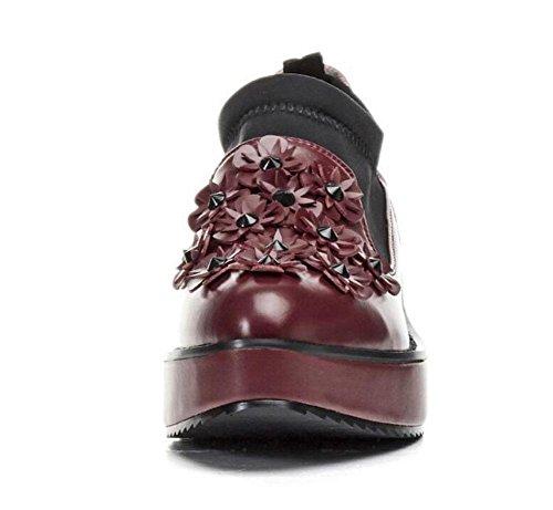 Casual Tacones Rojo Flores Mujeres red GLTER Ocio wine de Zapatos Cuñas Flats Sandalias Cuero Medias Loafer Blanco Zapatos ZHpSwqYE