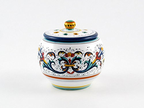 Hand Painted Italian Ceramic Garlic Jar Ricco Deruta Blu - Handmade in Deruta by Fima