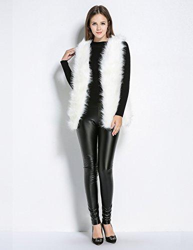 Veste Manteau Blouson Manche Renard Gilet Luxe Semia de Sans Automne Chaud Femmes Manteaux Faux Fourrure Blanc Hiver Slim Outwear qnCxxTfv7w