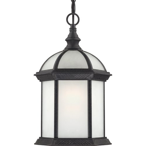 Nuvo Lighting 60/4999 Boxwood Energy Star One Light Hanging Lantern Bulb Included Frosted Glass Textured Black Outdoor Fixture (Billiard Ceiling Fixture)
