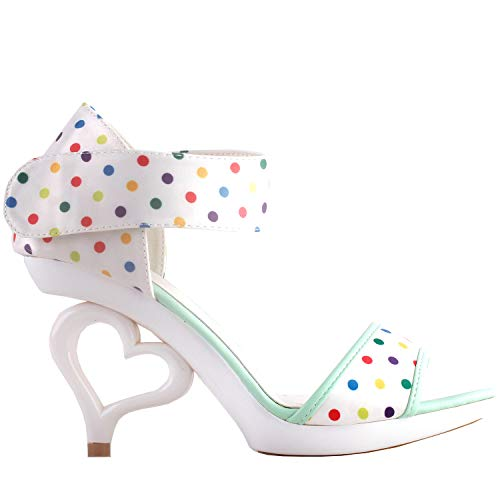 SHOW STORY White Satin Multicoloured Spot Polka Dots D'Orsay Open Toe Dancing Women Bride Wedding Sandals,LF60806AW38,7US,Multicoloured Spot Polka Dots