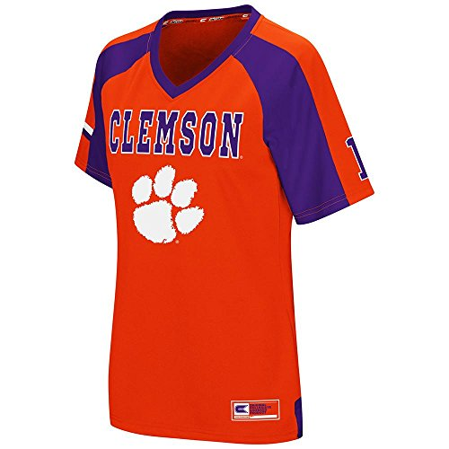 Womens NCAA Clemson Tigers Torch Football Fashion Jersey - L