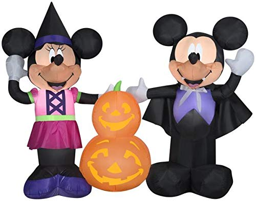 Gemmy 5.5' Wide Airblown Mickey and Minnie w/Pumpkins