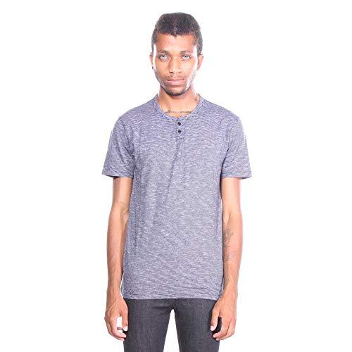 Lucky Brand Men's Casual Short Sleeve Stripe Notch Neck TEE, Night Sky XL