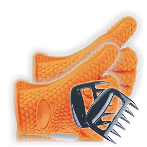 Silicone BBQ Gloves With Bear Claw Meat Shredder