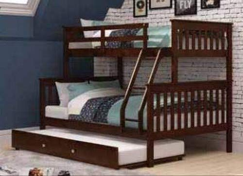 Donco Kids Mission Bunk Bed with Trundle, Twin Full Twin, Dark Cappuccino