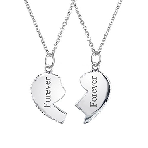 Bling Jewelry Sisters Split Heart Butterfly Pendant Sterling Silver Necklace Set 16 Inches n6CWbU2