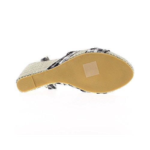 Cuña sandalias de las mujeres blancas y negras Tacon 9,5 cm