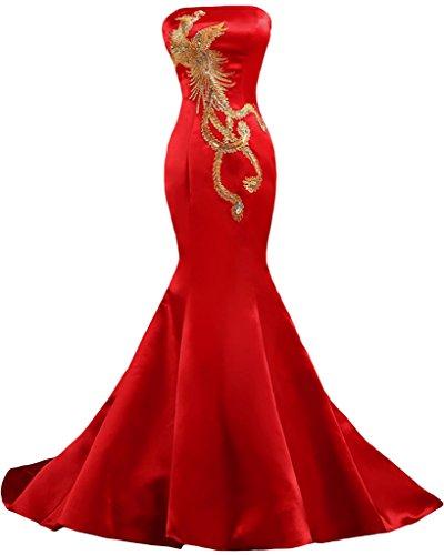 Sunvary Embroidery Mermaid Satin Strapless Wedding Reception Prom Evening Dresses