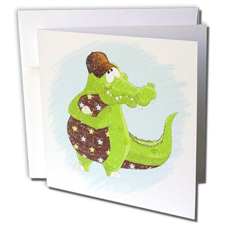 Doreen Erhardt Kids Collection - Green and Brown Alligator with Blue and Stars in Crayon for Kids - 1 Greeting Card with envelope (gc_240161_5)