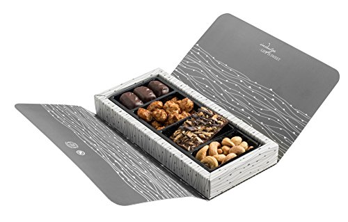 The Nuttery Gourmet Sweet and Salty Variety of Chocolate and Nuts 4 Section Corporate Gift Box(White)