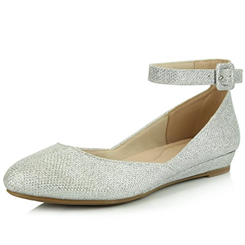 DailyShoes Women's Casual Adjustable Ankle Strap Buckle Pointed Toe Low Wedge Flat Shoes, Silver Glitter, 5.5 B(M) (Buckle Strap Platform Wedges)