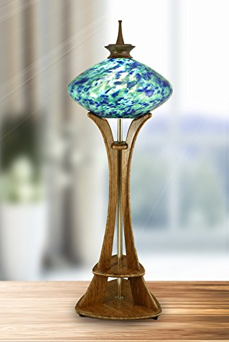 (Seattle Space Needle Accent Lamp with Blue & Teal Marbled Art Glass, Carmel Bamboo Base, and Hand-Turned Walnut Finial)