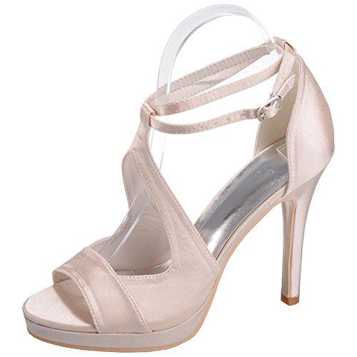 Loslandifen Women's Open Toe Ankle Straps Pumps Satin Stiletto High Heels Prom Party Wedding Shoes(5915-19Silk40,xiangbinse)