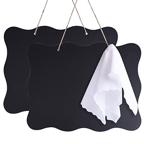 AUSTOR 10x14 Inch Double Sided Erasable Chalkboard Signs Message Board with Hanging String and Cleaning Cloth, 2 Pack