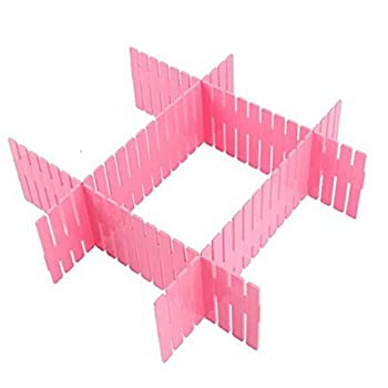 Woreach DIY Grid Plastic Drawer Wardrobe Sock Tie Pants Divider - 8Pcs Drawer Divider Seperator Storage Organizer (Pink)