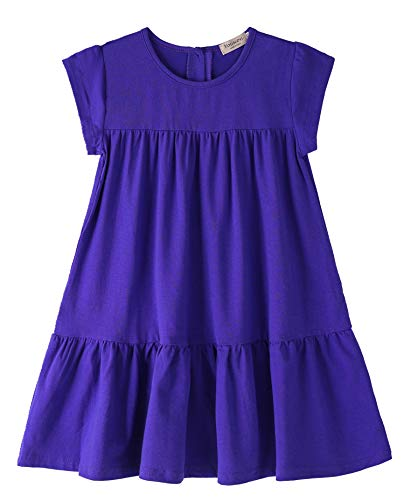 (Youwon Toddler Girls Dress Short Sleeve Solid Color Tunic A-Line Tiered Swing Dress 2-6 7-16 Purple)
