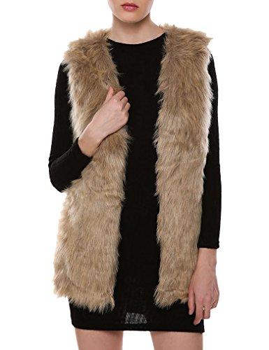 Naggoo Women Faux Fur Waistcoat Vest Gilet Outwear Coat Mid-Long Jacket (L, Brown) - Long Fur Vest