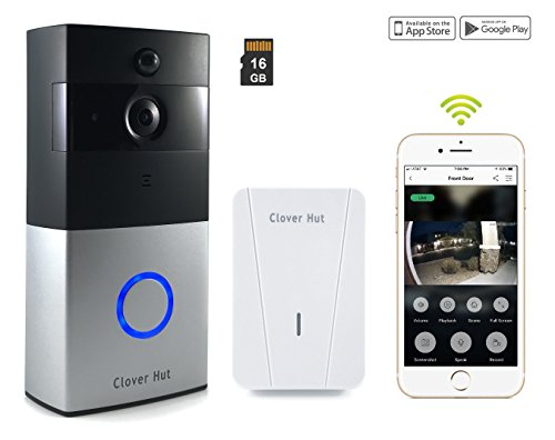 Smart Video Doorbell Wireless Wi-Fi Security Camera [16GB memory] HD 720P Real-time Video Two-Way Talk Audio IR Night Vision PIR Motion Detection with Indoor - Real Hut The