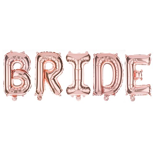 Ella Celebration Non-Floating Bride Letter Balloons, 13 Inch Rose Gold Balloon Letters, Bridal Shower or Bachelorette Party Decorations (Rose Gold)]()