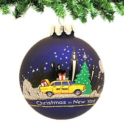 Kurt Adler New York Glass Ball Ornament, 80mm (Decorations In Christmas Nyc)