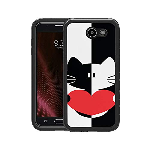 (FIDIKO Luxury Black & White Cartoon Cat Heart Pattern Protective Case Compatible Galaxy j7, Tough Slim Cool Design Hard Case Compatible Samsung Galaxy)