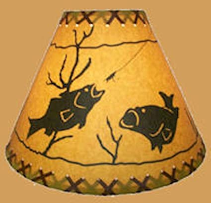 FISHING SILHOUETTE LAMP FINIAL for old antique shade or lampshade FISH rustic